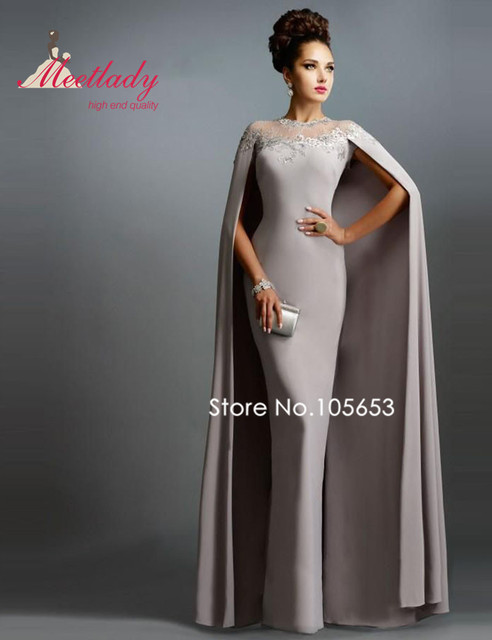 38af1437a8f Romantic Muslim Mermaid Long Applique Evening Dress Vintage Satin Lace  Evening Gown With Cape Mother of Bride Dress E12