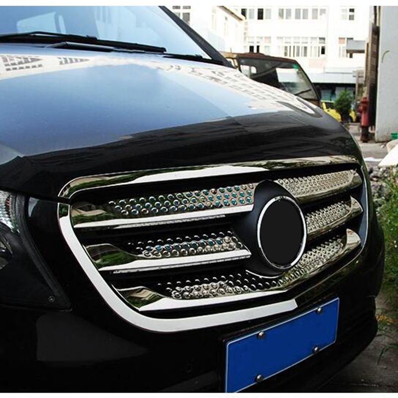 For Mercedes-Benz Vito W447 2014-2017 Front Center Mesh Grille Grill Cover  Trim Radiator Strips Molding Garnish Decoration