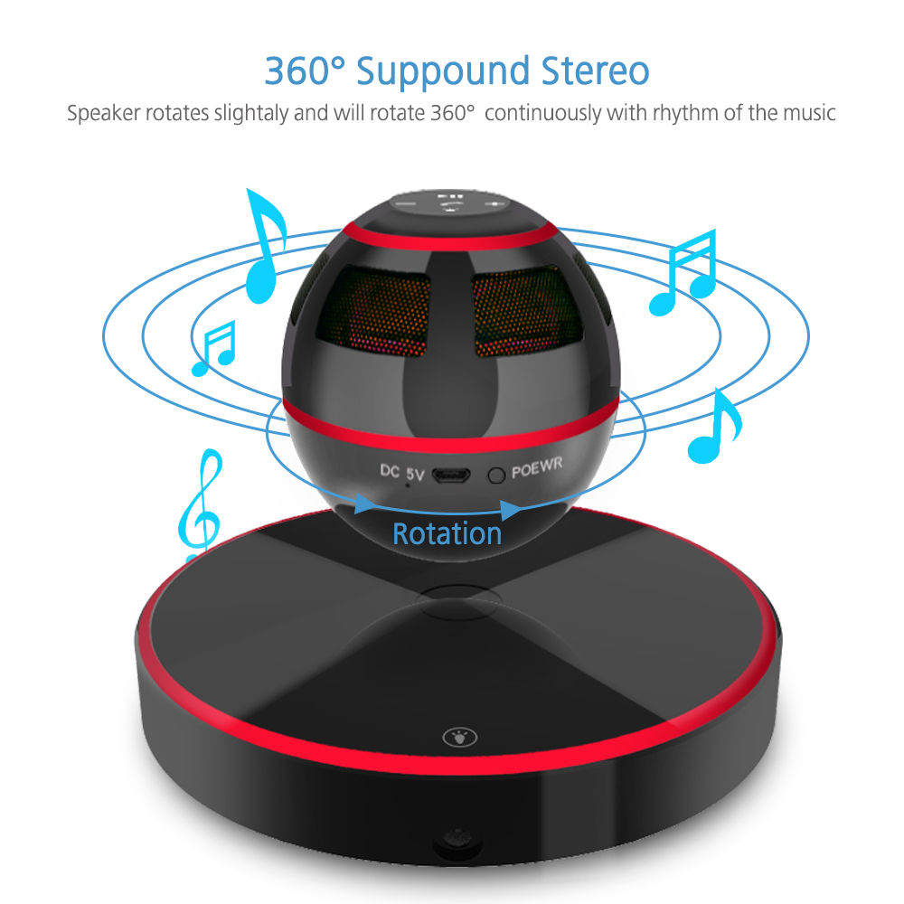 Levitating Bluetooth Speaker Portable Floating Wireless Colorful magnetic suspension 4.0 360 Degree Rotation Built-in MicrophoneLevitating Bluetooth Speaker Portable Floating Wireless Colorful magnetic suspension 4.0 360 Degree Rotation Built-in Microphone