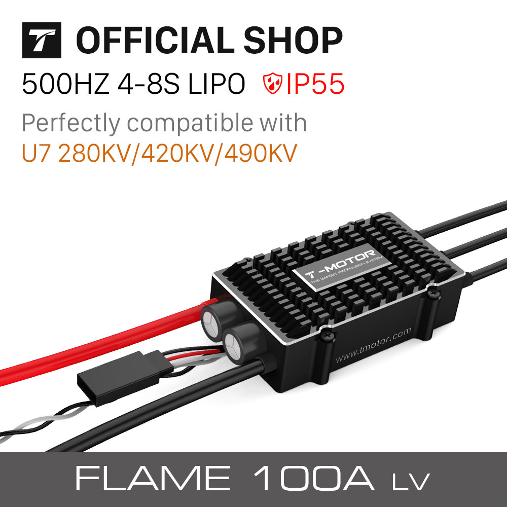 T-motor Tiger Electronic Speed Controller FLAME100A LV(6-14S 500HZ NO BEC) Special Designed For Multirotors UAV Drones t motor special designed p80 100kv of p series motor for agriculture multicopter uav drones