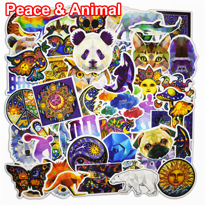 60 Pcs Peace World and Animal Stickers for Laptop Phone Bicycle Luggage Mixed Motorcycle Cartoon Vinyl Waterproof PVC Sticker