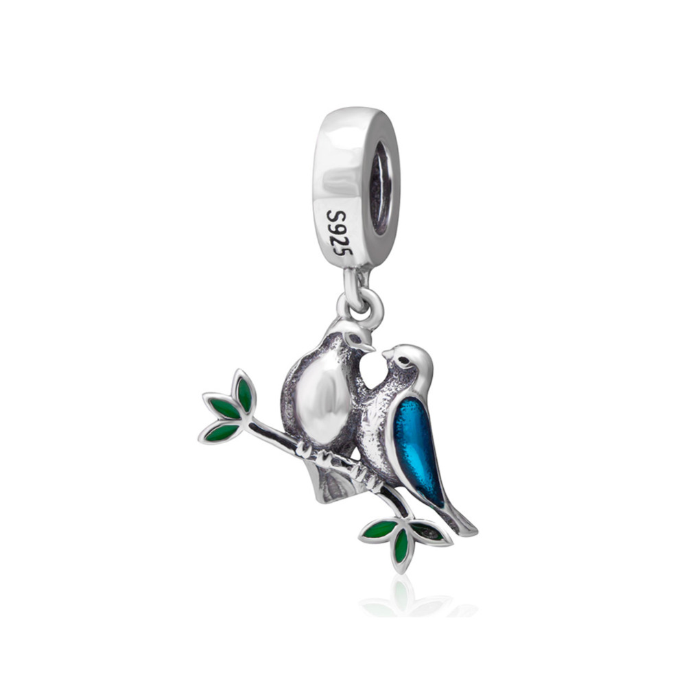 Two Bird Pendant Beads Authentic 925 sterling silver Jewelry diy Fits Pandora charms Bracelets fashion Jewelry