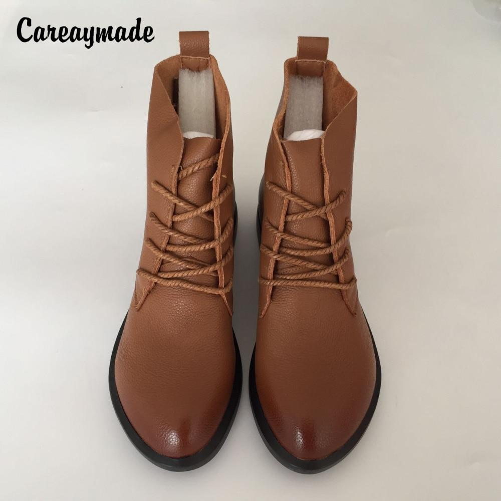79bd1b7bb Careaymade-رئيس طبقة جلد البقر نقية اليدوية الكاحل نصف أحذية بوت قصيرة ،  سين الإناث عارضة مارتن الأحذية النسائية ، أحذية من الجلد الحقيقي