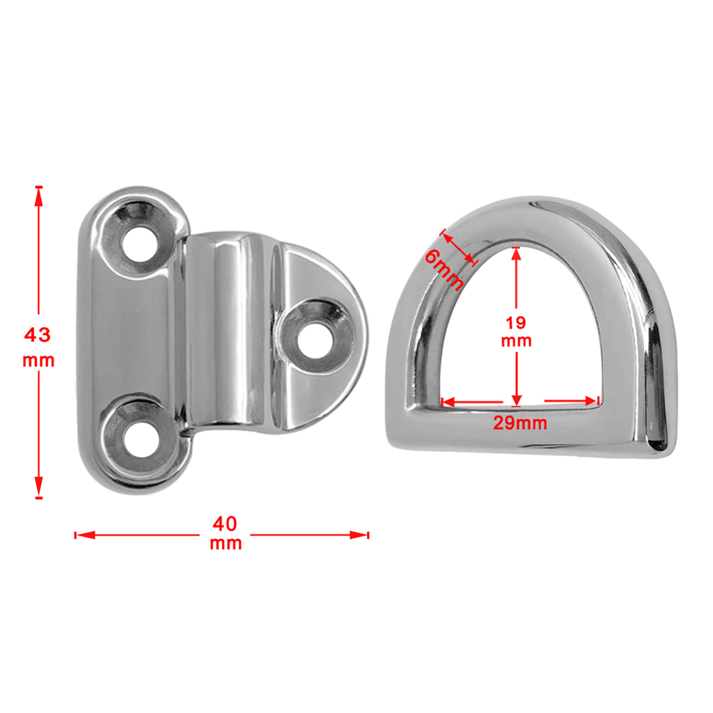Image 5 - 29 x 19 x 6 mm 316 Stainless Steel Folding Deck Pad Eyes / Lashing D Ring Tie Down Point Anchor Fixing Cleat Plate-in Marine Hardware from Automobiles & Motorcycles