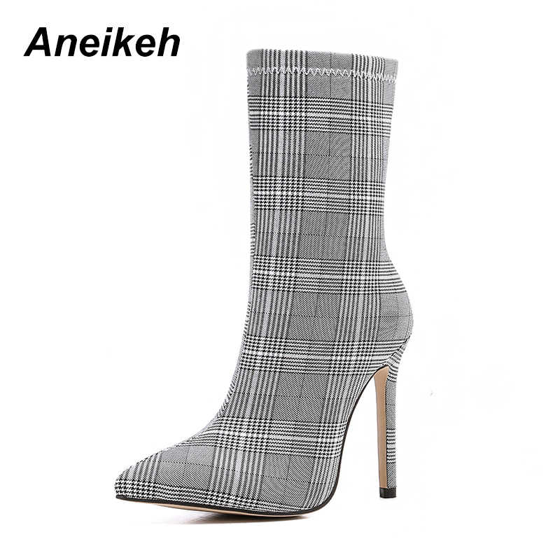Aneikeh 2019 Spring Autumn Boots Woman Plaid Booties Sexy Pointed Toe Thin High  Heels Ladies e8f2194f4818