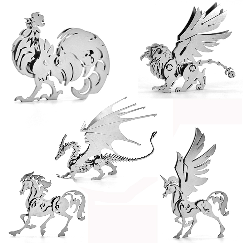 High Quality Elk/Dragon Animal Stainless Steel 3D Metal Kits Puzzle Assembling Model Creative Birthday Decoration Collection Toy