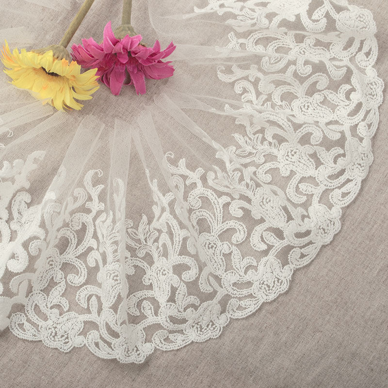 Free Shipping 3yards/lot Width 16cm White Mesh Cotton Embroidery DIY Lace Trim ,Clothing Decorative Lace FabricsYN222