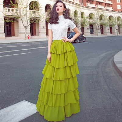 f7c9fc6de0ce1 Women s Summer Chiffon Skirts Long Ball Gown Skirts Plus Size Elegant  Elastic Waist Cake Skirts-in Skirts from Women s Clothing on Aliexpress.com