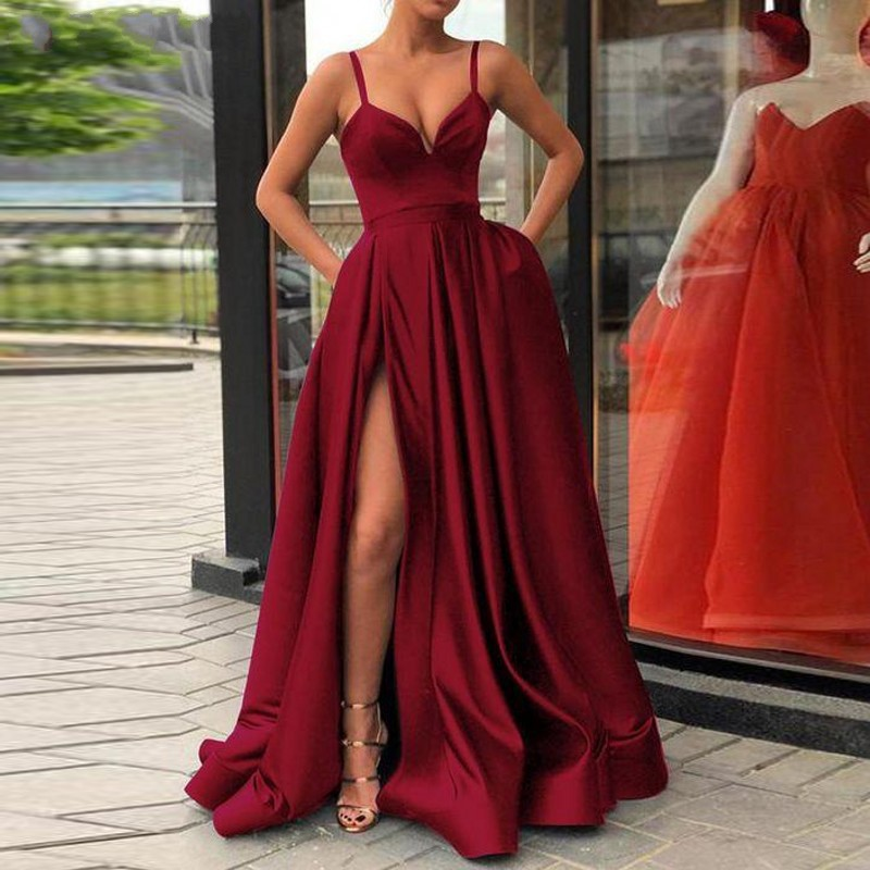 Champagne Muslim Evening Dresses 2019 High Slit Satin Spaghetti Straps Sweetheart A-Line Long Prom Dress Burgundy Evening Gown