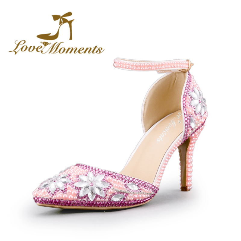 Sandals High Heels Women Pumps Pink Rhinestone Pointed Toe Ankle Straps handmade crystal party wedding shoes Summer Sandals summer new pointed thick chunky high heels closed toe pumps with buckle ankle wraps sweet sandals women pink black gray 34 40