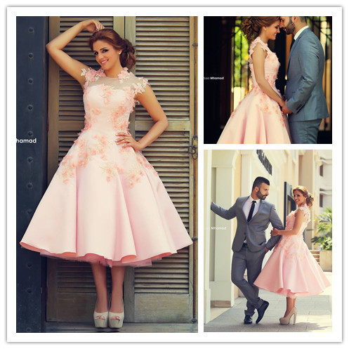 b330a460d6 Pretty pink appliques Mid-Calf sleeveless ball gown cocktail dresses  fashion prom dress robe de