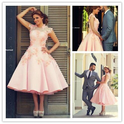 Pretty pink appliques sin mangas A Media Pierna vestido de bola vestidos de cóct