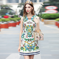 High Quality 2018 New Designer Fashion Summer Dress Women S Sleeveless Pattern Printed Casual Crystal Luxe