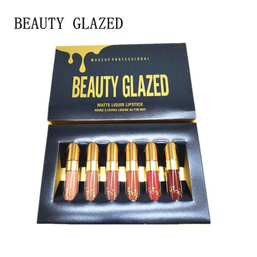 6 teile/los Matte Lippenstifte Urlaub Flüssigkeit Lip Gloss Feuchtigkeitscreme Geburtstag Edition Lipgloss Lippenstift Lip Make-Up Maquiagem