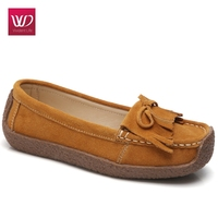 Vivident Casual Loafers Women Suede Warm Genuine Leather Soft Flats Moccasin Female Slip On Tassel Boat