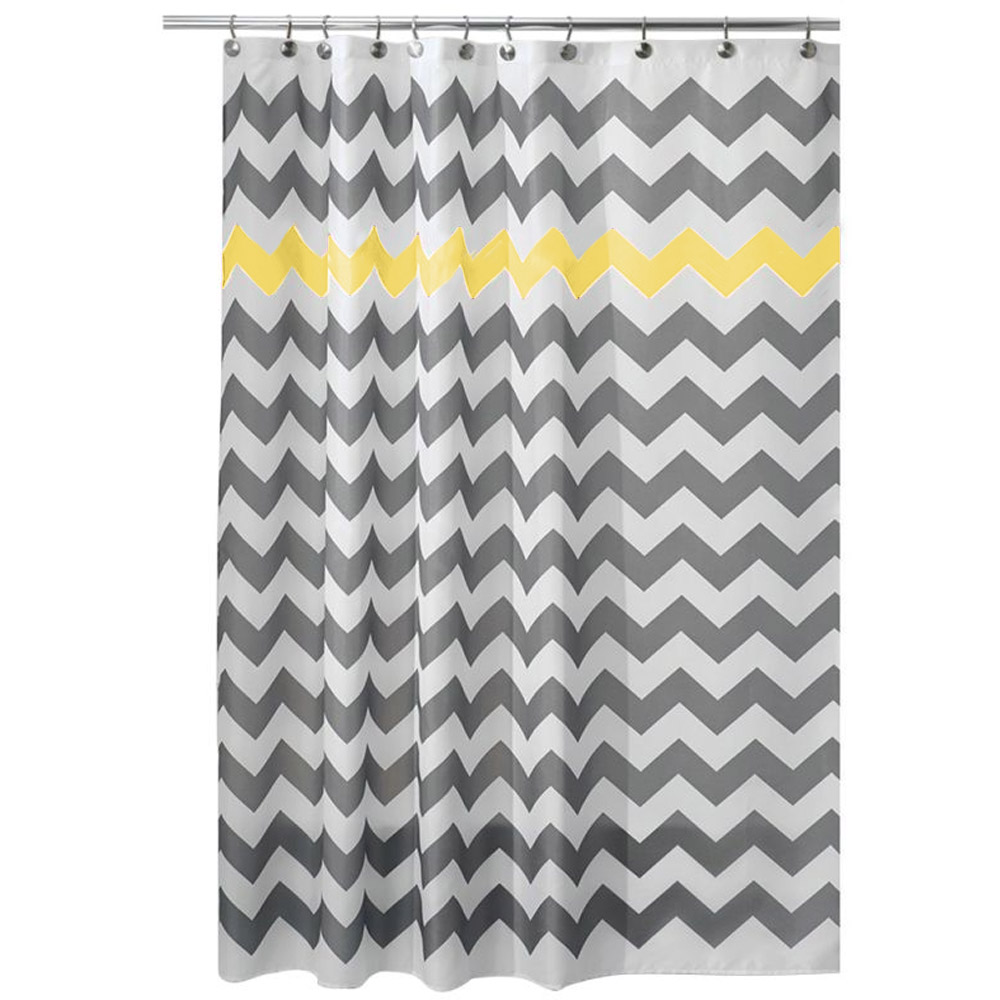 Yellow patterned curtains - 180 X 180cm Bathroom Shower Curtain Wavy Stripes Pattern Waterproof Polyester Bath Curtain With Hooks Yellow Rideau Douche