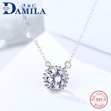 Fashion round crystal 925 Sterling Silver pendant necklace For Women cubic zirconia Pendants with S925 silver necklace jewelry сапоги для мальчика kenka цвет черный lpg 71030 black размер 36