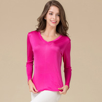 Summer Women 100% Real Silk Full Sleeve T shirt Casual Knitted Shirts Comfortable Breathable Loose T shirts Women Tops Tees 1057