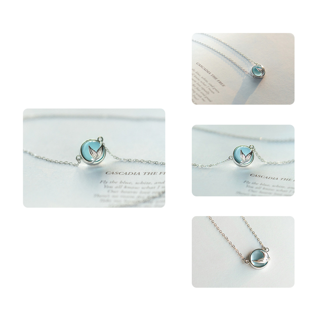 Thaya Mermaid Foam Bubble Design Crystal Necklace s925 silver Mermaid Tail Blue Pendant Necklace for Women Elegant Jewelry Gift 5