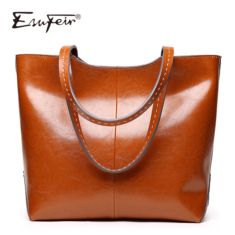 ESUFEIR Brand 2018 Fashion Women Handbag Genuine Leather Women Bag Soft Oil Wax Leather Shoulder Bag Large Capacity Casual Tote safebet brand 2018 new fashion cool style real leather handbag wholesale oil wax leather slanting shoulder bag women s handbag