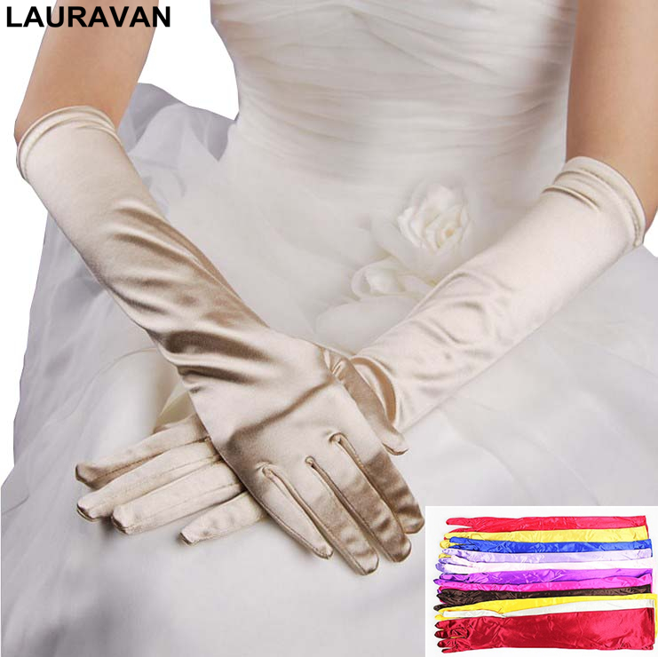 White Ivory Brides Classic Black White Red Grey Adult Opera Wrist Stretch Satin Finger Long Gloves Women Gloves Matching Costume