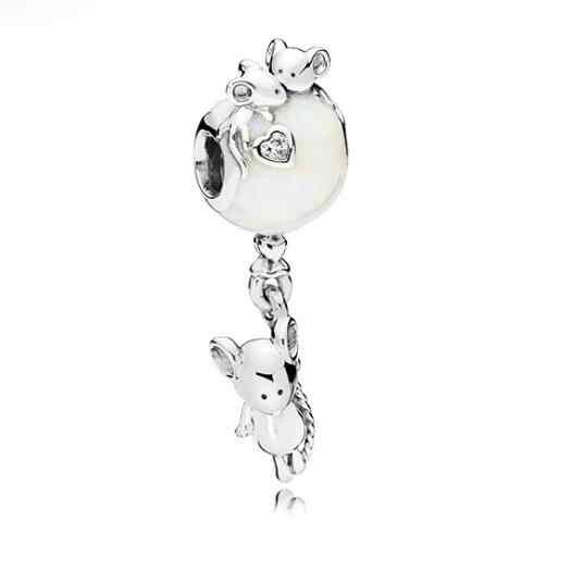 Btuamb אירופאי תינוק ילד וילדה חמוד ארנב אהבת לב מפתח תליון חרוזים Fit פנדורה קסם DIY צמידי תכשיטי Femme berloque