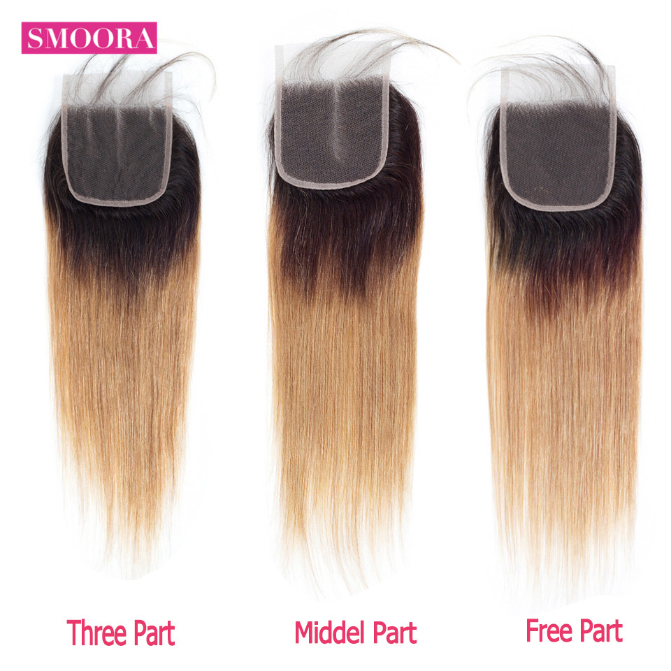 Smoora Hair Ombre  Straight 4 Bundles With Closure T1B/27 Ombre  Bundles With Closure Honey Blonde Non  6