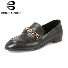 BONJOMARISA 2019 Spring Quality Genuine Leather Loafers Women Brand Chain Flats Office Lady Low Heels Shoes Woman Mocassions(China)