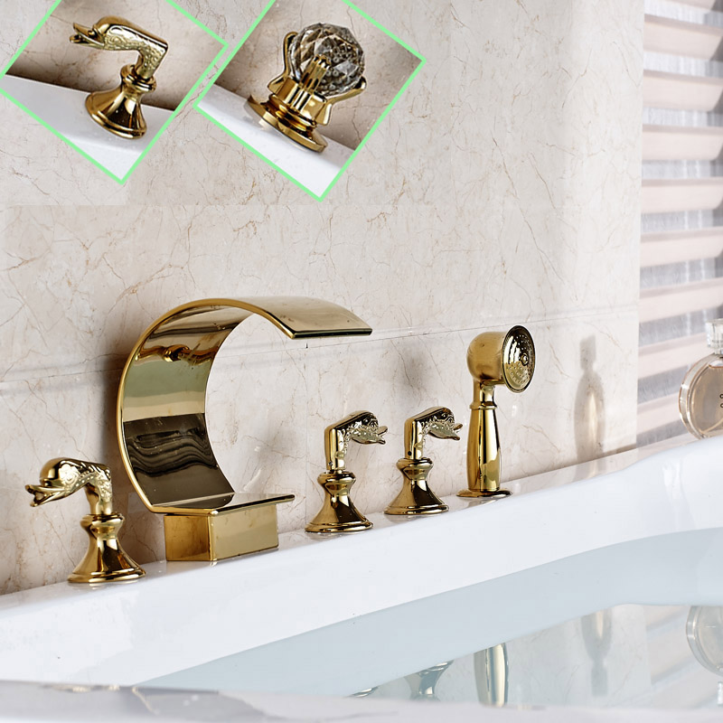 Deck Mounted Bathroom Tub Sink MIxer Taps Golden Waterfall