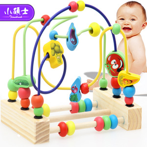 Pine 3-lines Vegetables Around Beads Early Education Math For Children Kids Puzzel Safe and Environmental Abacus Toys Gift