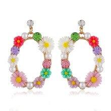 Ajojewel Colorful Daisy Wreath Rhinestone Earrings For Women Simulated Pearl Beautiful Jewelry Drop Ship 2019