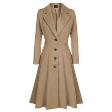 Winter Wool Warm Casual Office Ladies Plus Size Women Long Trench Coats Slim Lap