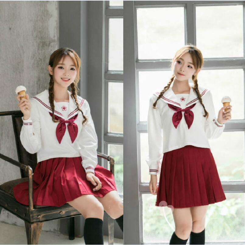Japanese korean anime girl cosplay costume sakura embroidered school uniforms cute girl sailor suit jk student uniform Top+Skirt girl