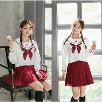 Coreano japonês anime girl traje cosplay sakura bordado uniforme estudante terno de marinheiro jk uniformes escolares bonito menina Top + Saia