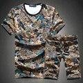 2017 моды для мужчин досуг отпечатано круглым воротом с коротким рукавом Футболки костюмы/Мужчины высокого класса отдыха T-shirt + шорты Большой размер М-5XL