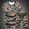 2017 hombres de la moda de ocio impreso cuello redondo de manga corta T-shirt trajes/Hombre de alta gama de ocio t-shirt + shorts de Gran tamaño M-5XL