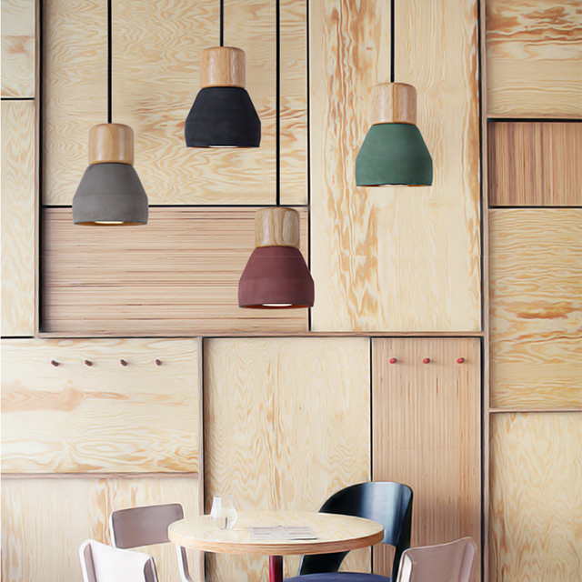 4 color brief Loft Nordic Style wood Cement Pendant lights modern ...