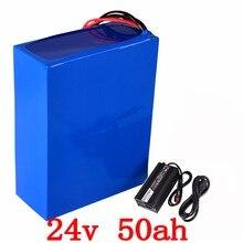 24 В 1000 Вт литиевая батарея 24 В 50AH электрическая батарея велосипеда 24 В 50AH батарея с 50A BMS и 29,4 В 5A зарядное устройство Свободная таможенная пошлина
