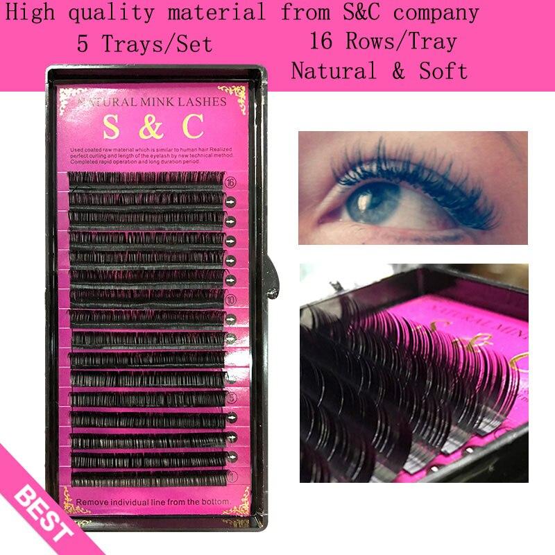 S&C,5 cases set,High quality mink eyelash extension,individual eyelashes,natural eyelashes,fake false eyelashes