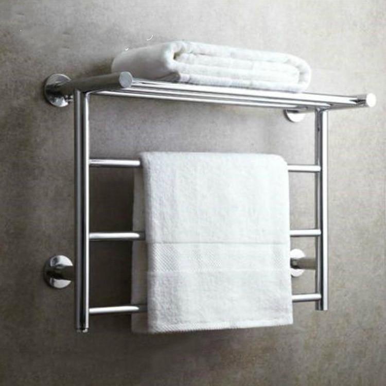 Modern Silver 304 Stainless Steel Electric Towel Rack Towel Bar Polished Chrome Towel Holder