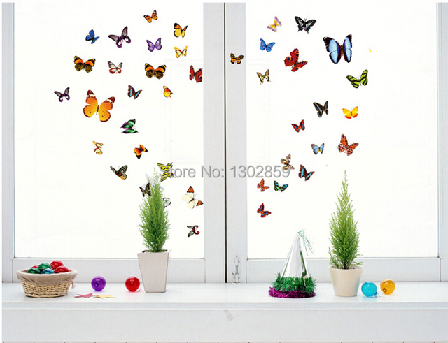 2015 new removable pvc cupboard wall sticker fashion creative 81 butterfly style glass paste diy home - Cupboard Decoration