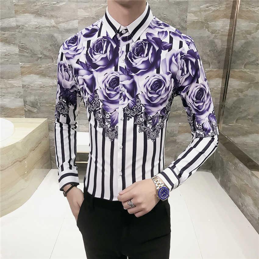 123f2a432ca3 ... Fashion Men's Printed Long-sleeved Shirt Size S-3XL Business Wedding  Banquet Flower Top ...