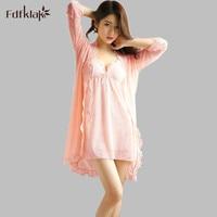 Fdfklak High Quality Sexy Attire Silk Gowns Lace Robe Nightgown Robe Set Nightwear Summer Women's Silk Robes Plus Size E0829