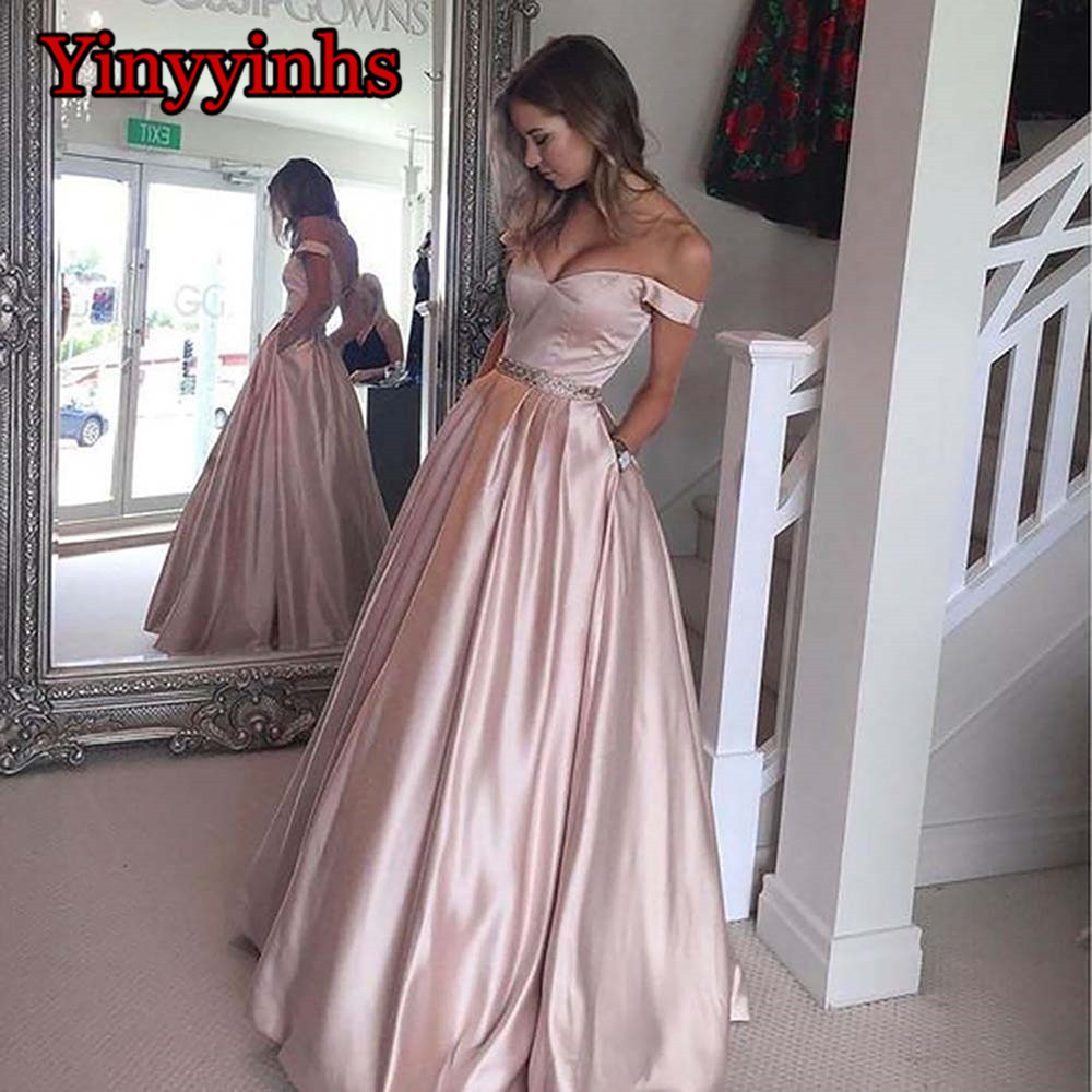 Vestido De Festa A-line Long Evening   Dress   Vintage Off Shoulder   Prom     Dresses   Crystal Belt Robe De Soiree with Pockets CG46