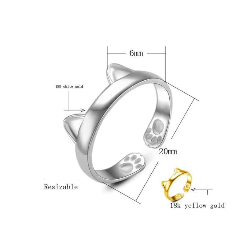 Argento Placcato ANELLO di ORECCHIE di GATTO Anello per il Pollice Regolabile Pet Regalo 2017 del braccialetto alla moda fasce di cerimonia nuziale di metallo #811