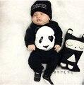 2017 мода прохладный baby boy девушка одежда набор черный С Длинным рукавом Панда комплект одежды младенца новорожденных одежда ребенка ползунки