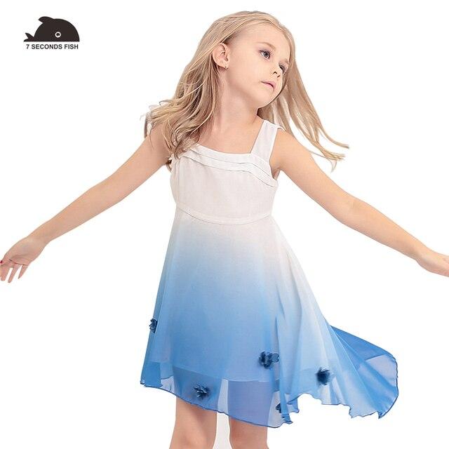 girl beach dress 2019 Chiffon Gradiente Blue Princess dress  Children Clothing Kids Clothes party dresses