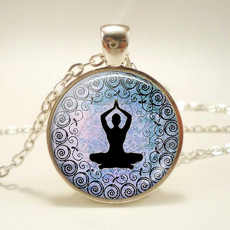 Pingente de símbolos chakra. Símbolos chakra assinar colar. Vidro cabochão budismo jóias indianas feminino