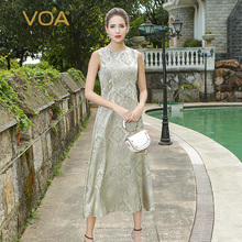 VOA 2017 Autumn Sleeveless Vintage Silk Jacquard A Line Dresses Silver Elegant Luxury Mid Waist Slim Maxi Dress A6767