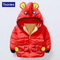 New Arrival Boys Winter Jacket Cartoon Elephant Hooded Cotton Velvet Girls Parka Coats 3 Colors Boys Winter Coat Zipper Parka